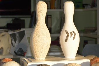 Desamanera Marmo Liquido finish was applied to these bowling pins 3D printed thorugh Massivit's large size 3D printing GDP technology